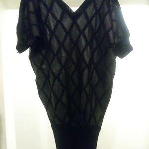 Dresses & Skirts - Black Leather Sweater Dress